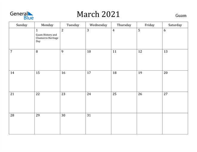 Image of March 2021 Guam Calendar with Holidays Calendar