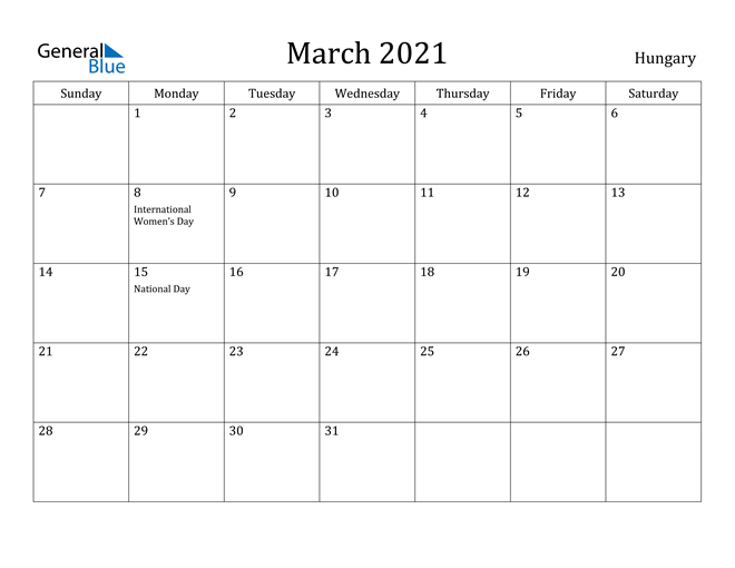 Image of March 2021 Hungary Calendar with Holidays Calendar