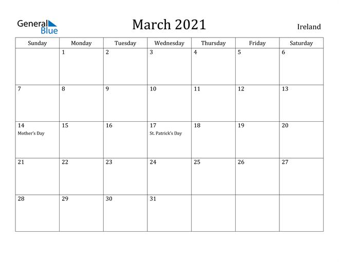 Image of March 2021 Ireland Calendar with Holidays Calendar