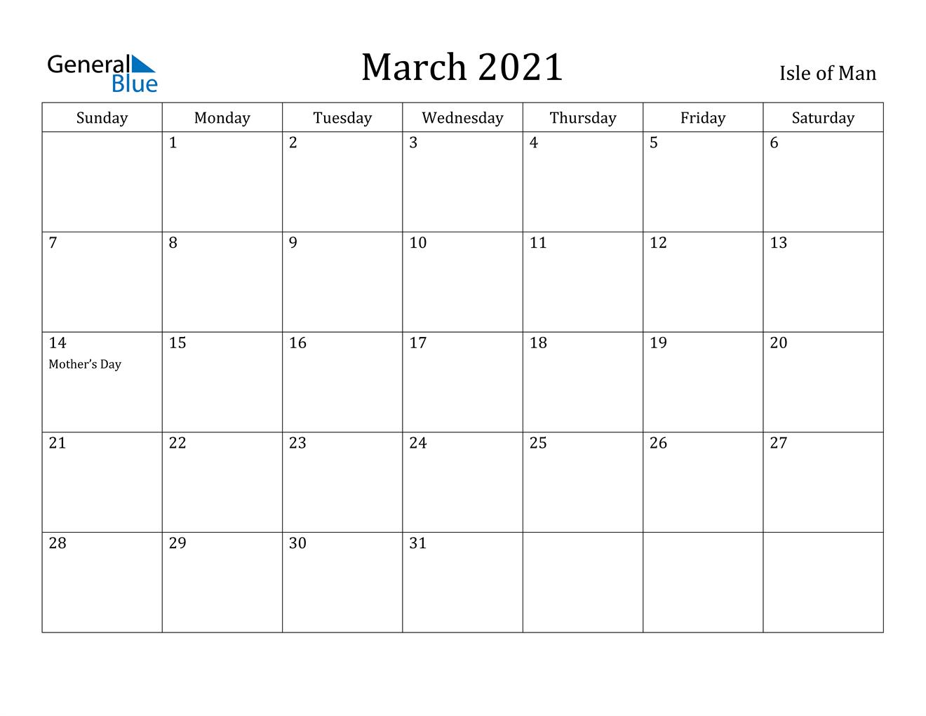 March 2021 Calendar   Isle of Man