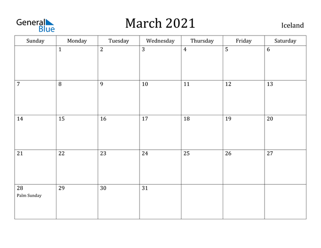 Image of March 2021 Iceland Calendar with Holidays Calendar