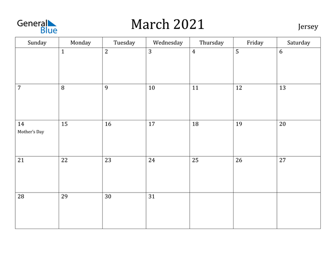 Image of March 2021 Jersey Calendar with Holidays Calendar