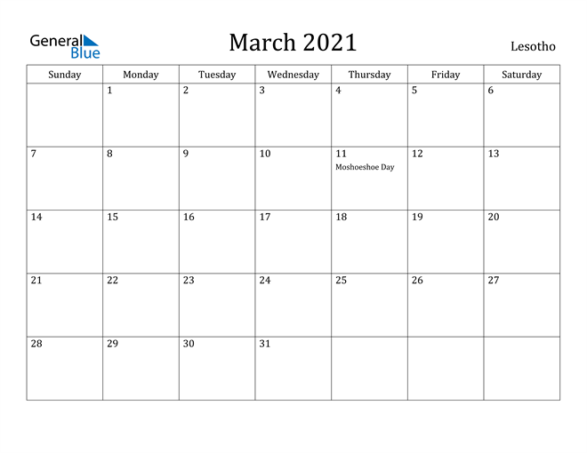 Image of March 2021 Lesotho Calendar with Holidays Calendar