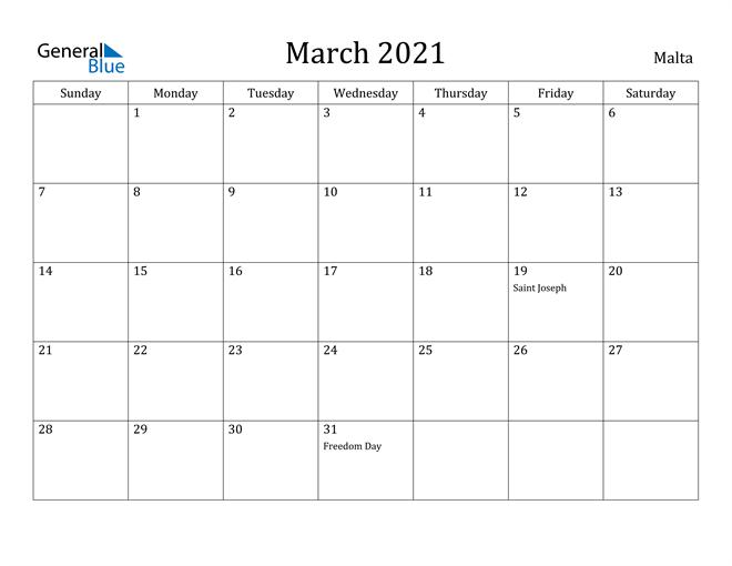 Image of March 2021 Malta Calendar with Holidays Calendar