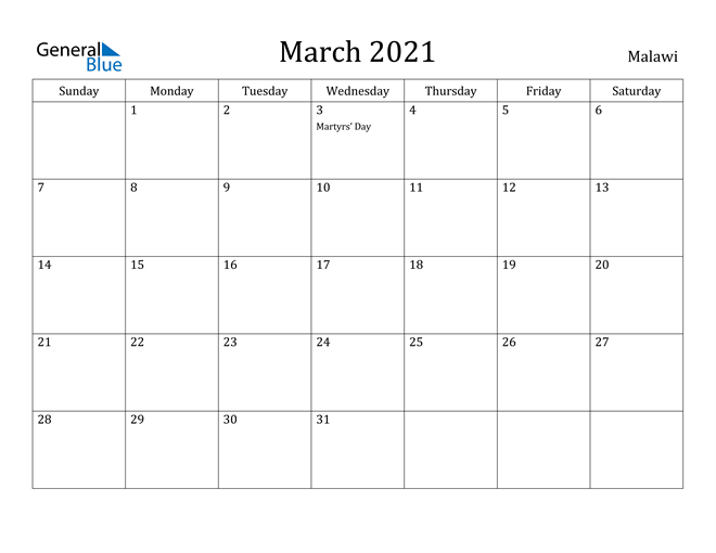 Image of March 2021 Malawi Calendar with Holidays Calendar