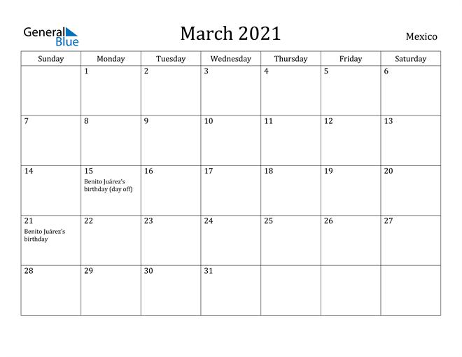Image of March 2021 Mexico Calendar with Holidays Calendar