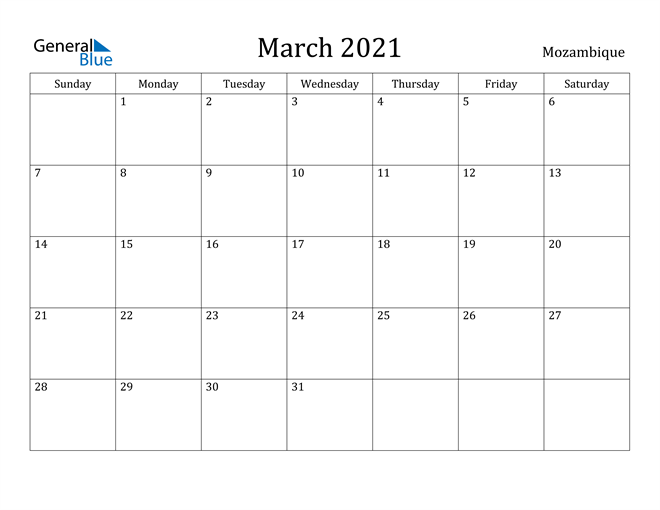 Image of March 2021 Mozambique Calendar with Holidays Calendar