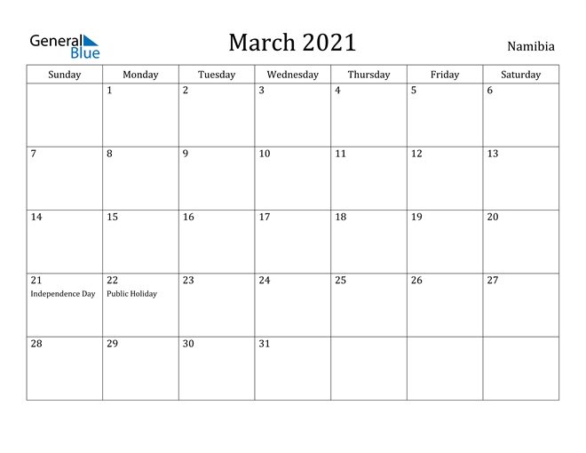 Image of March 2021 Namibia Calendar with Holidays Calendar
