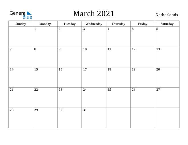 Image of March 2021 Netherlands Calendar with Holidays Calendar