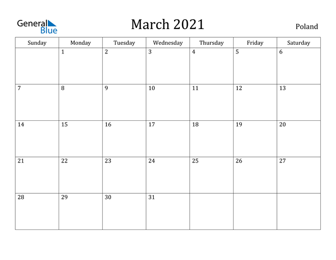 Image of March 2021 Poland Calendar with Holidays Calendar