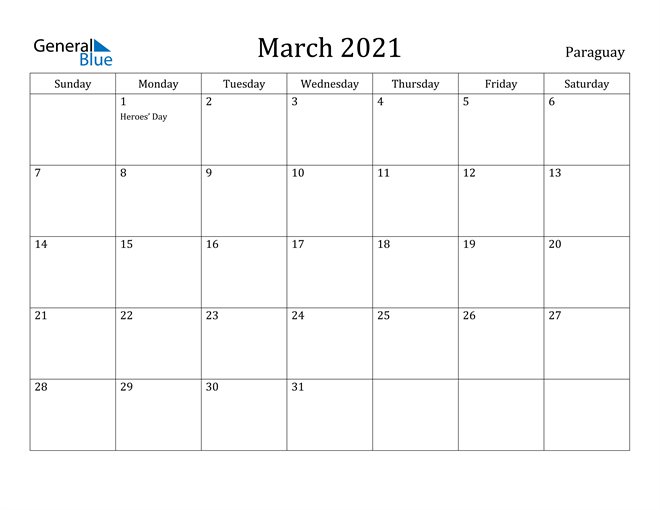 Image of March 2021 Paraguay Calendar with Holidays Calendar