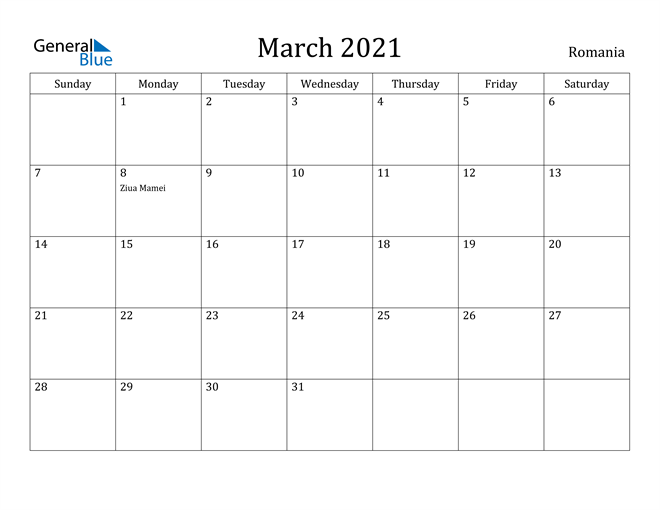Image of March 2021 Romania Calendar with Holidays Calendar