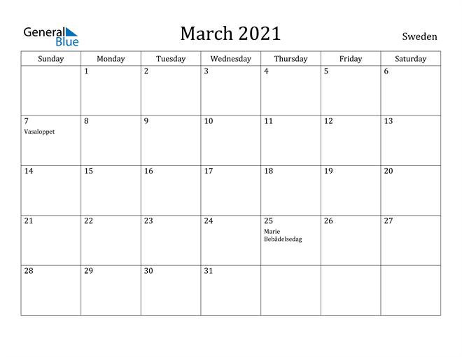 Image of March 2021 Sweden Calendar with Holidays Calendar
