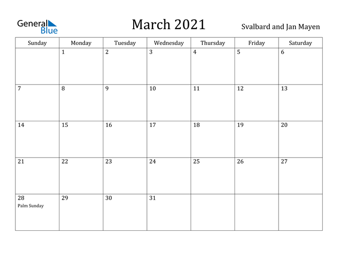 Image of March 2021 Svalbard and Jan Mayen Calendar with Holidays Calendar