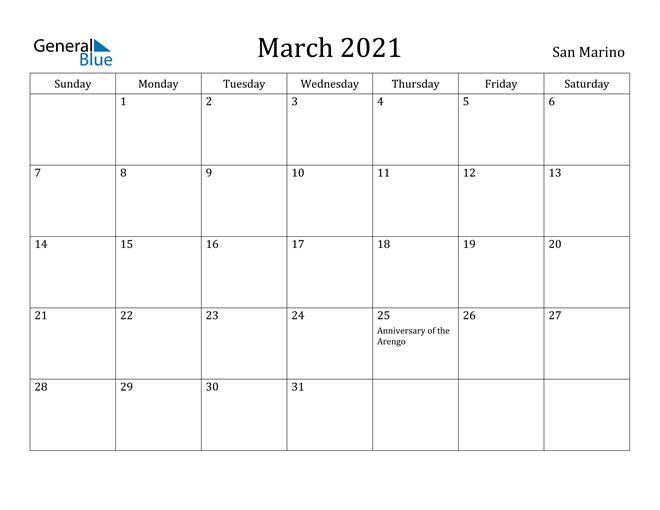 Image of March 2021 San Marino Calendar with Holidays Calendar