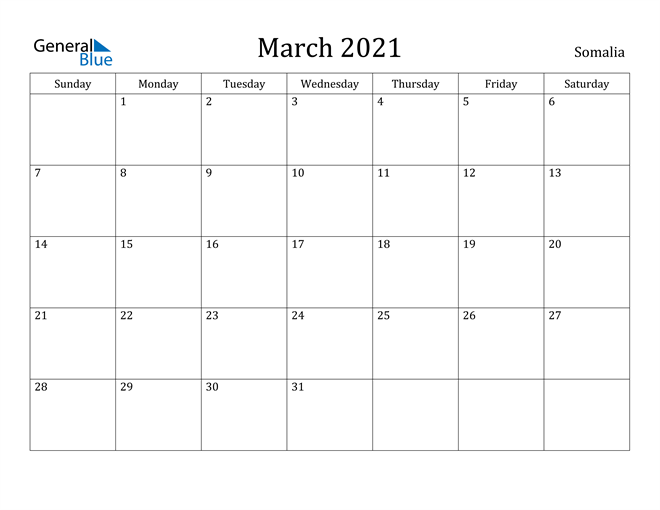 Image of March 2021 Somalia Calendar with Holidays Calendar