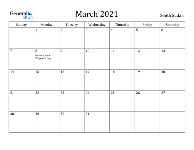 Image of March 2021 South Sudan Calendar with Holidays Calendar