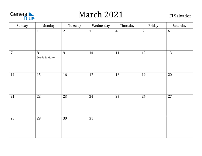 Image of March 2021 El Salvador Calendar with Holidays Calendar