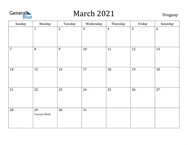 Image of March 2021 Uruguay Calendar with Holidays Calendar