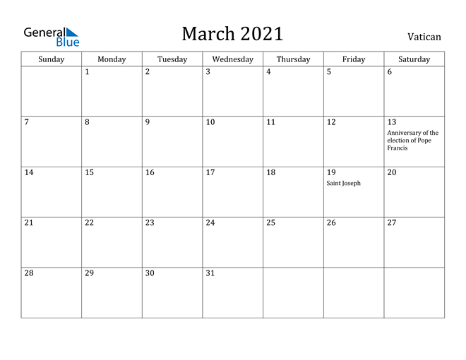 Image of March 2021 Vatican Calendar with Holidays Calendar