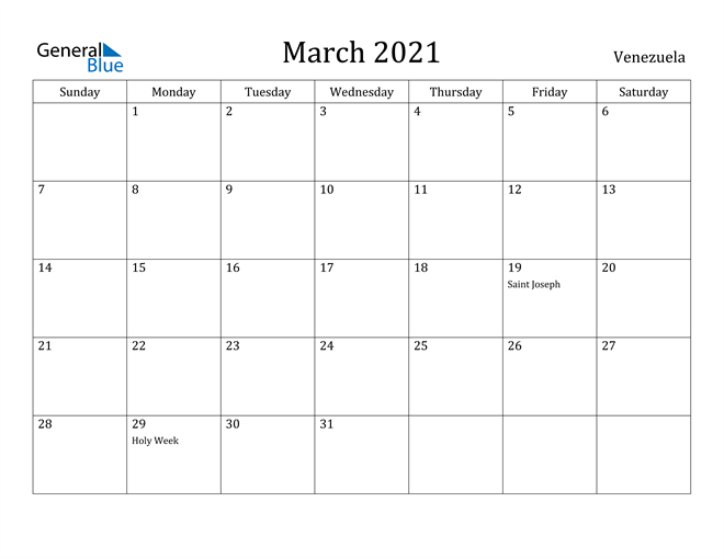 Image of March 2021 Venezuela Calendar with Holidays Calendar