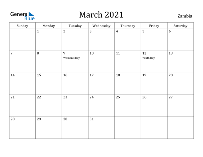 Image of March 2021 Zambia Calendar with Holidays Calendar