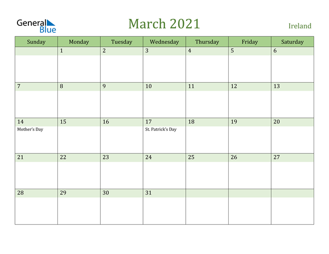 Image of March 2021 Cool and Relaxing Green Calendar Calendar