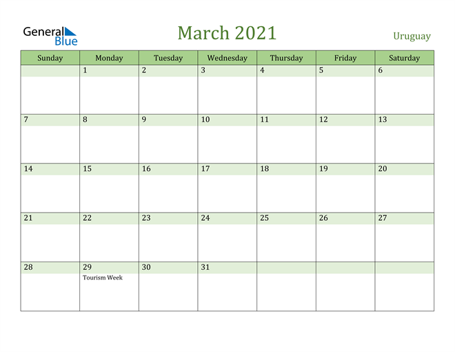 March 2021 Calendar with Uruguay Holidays