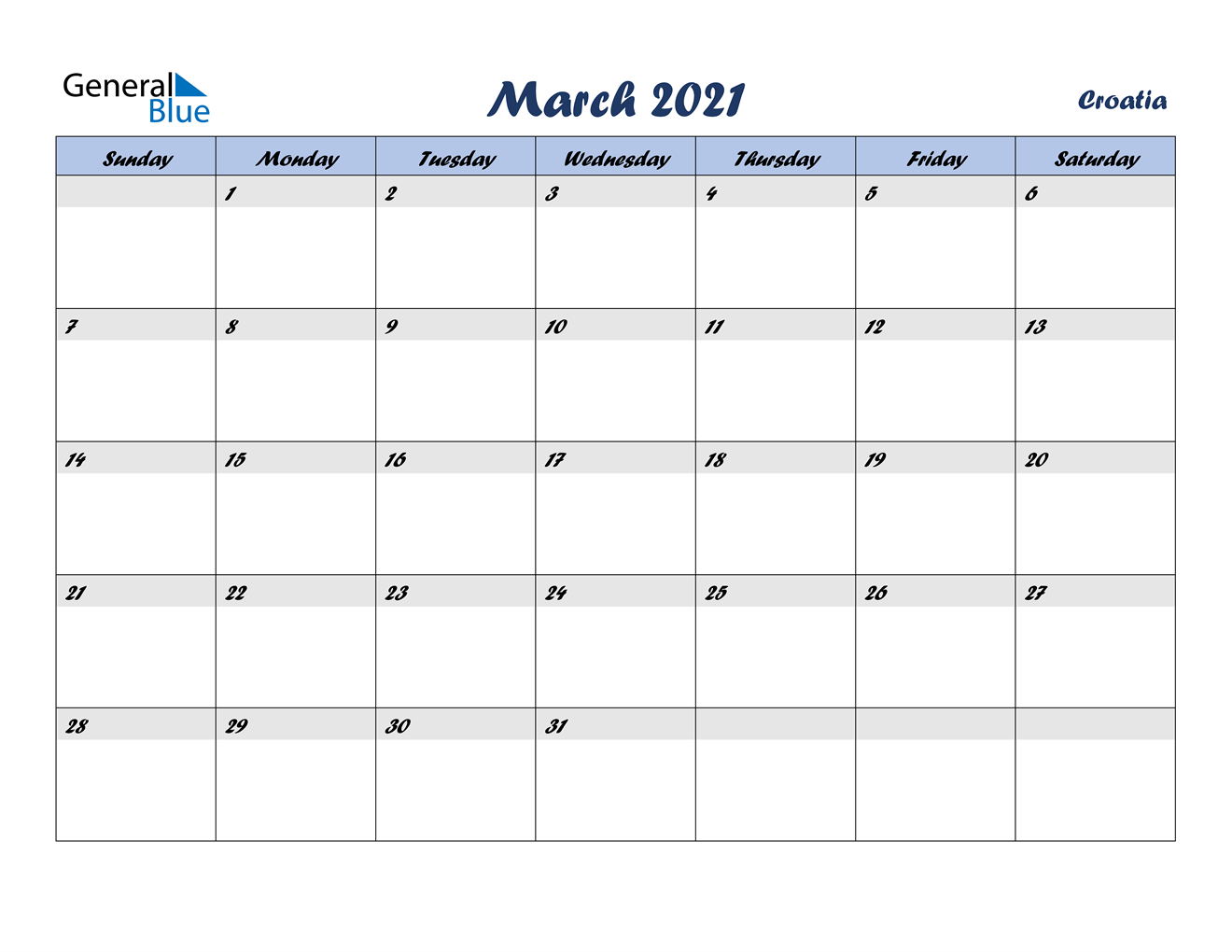 March 2021 Calendar - Croatia