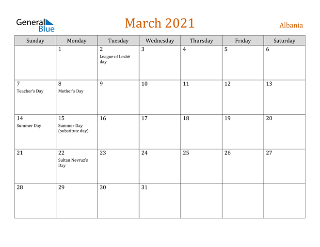 Image of March 2021 Contemporary Orange PDF, Word and Excel Calendar Calendar