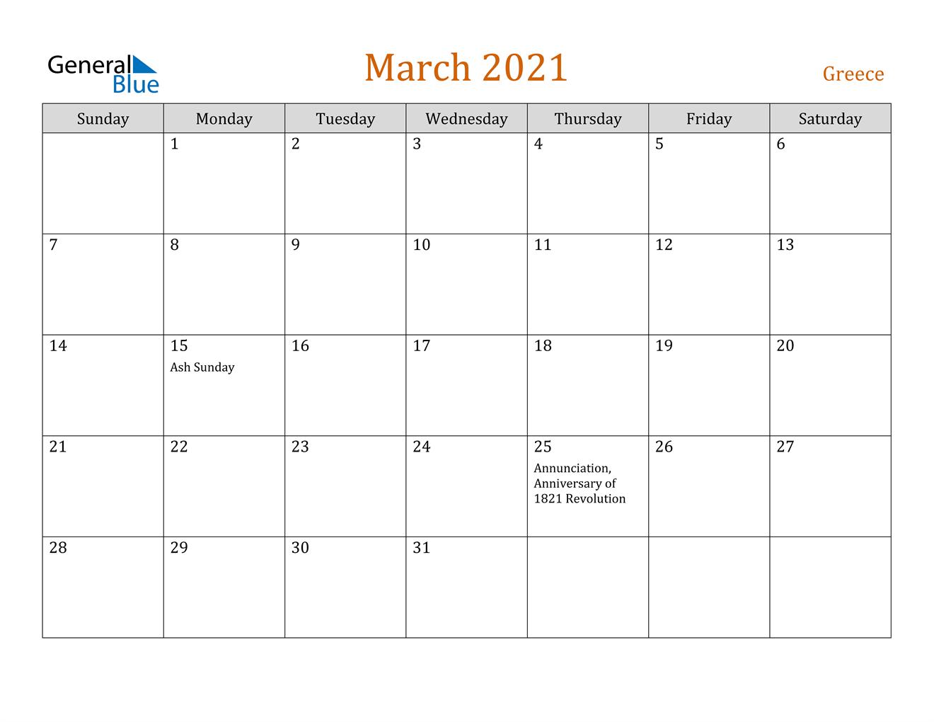 March 2021 Calendar - Greece