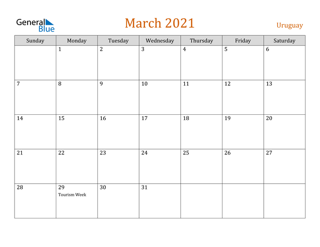 March 2021 Holiday Calendar