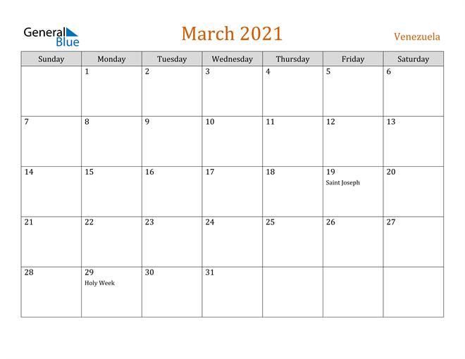 Image of March 2021 Contemporary Orange PDF, Word and Excel Calendar Calendar