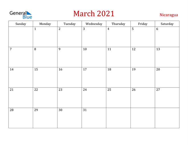 Image of March 2021 Dark and Red Professional Office Calendar Calendar