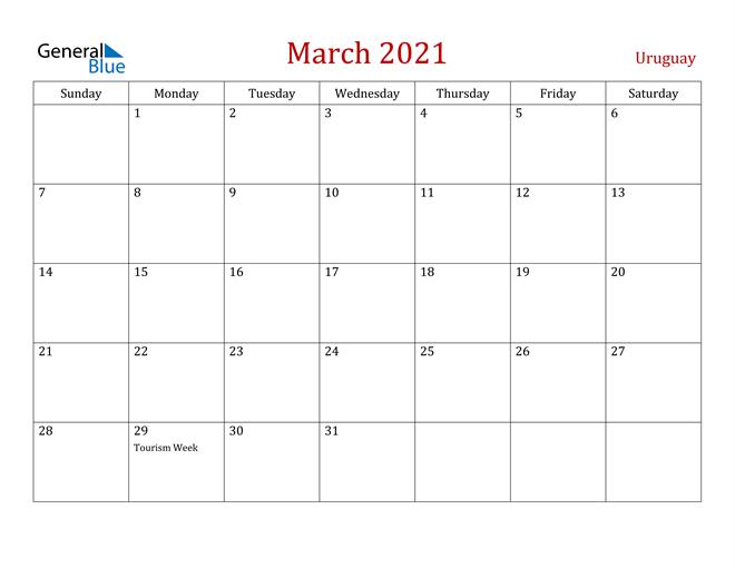Uruguay March 2021 Calendar