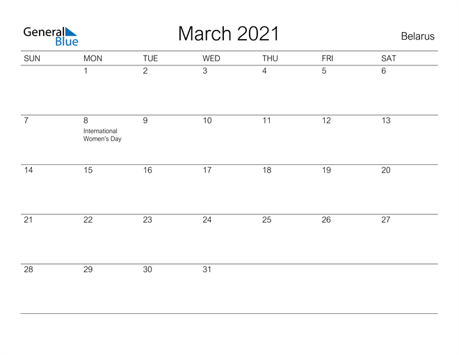 Image of March 2021 A Streamlined Design, The Perfect Printable Calendar. Calendar