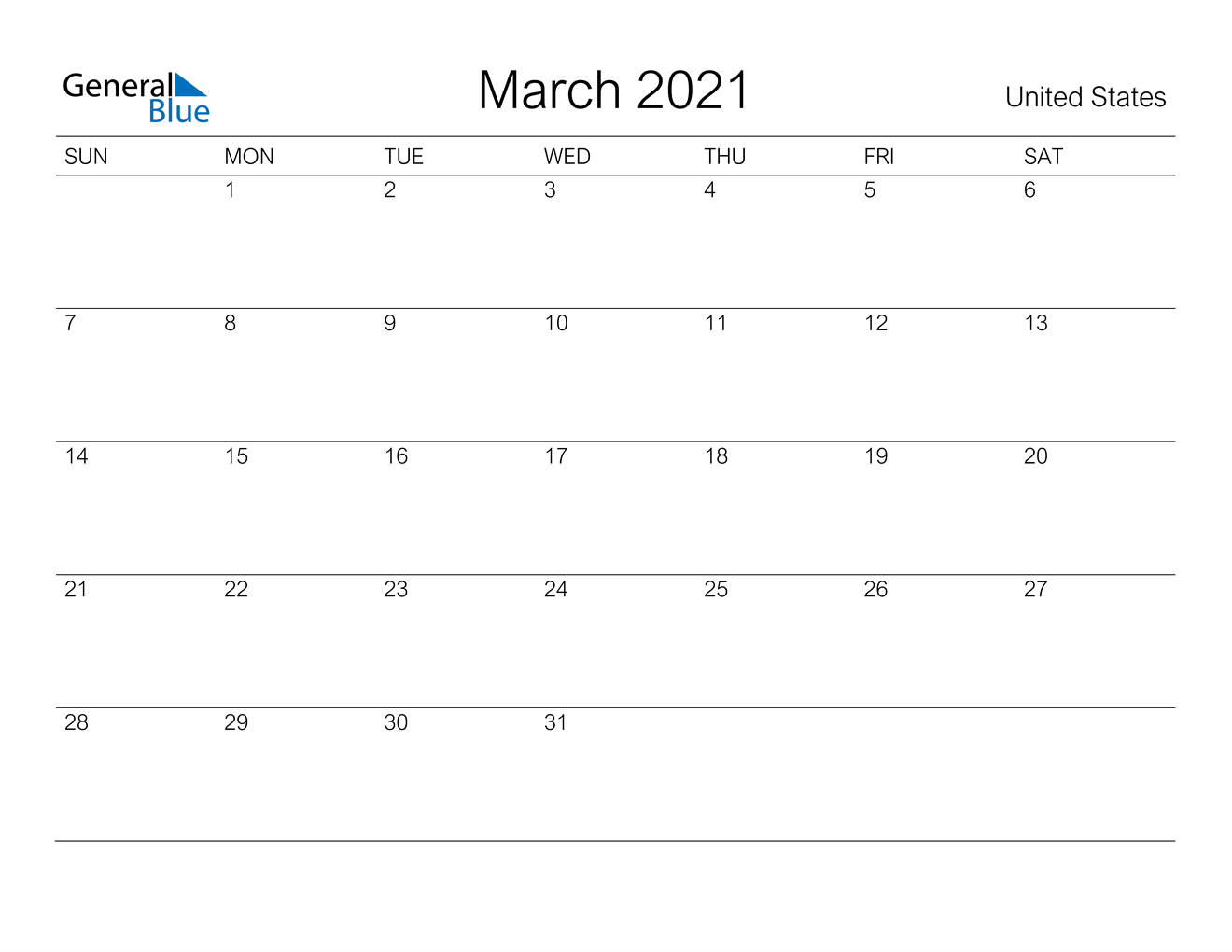 March 2021 Calendar - United States