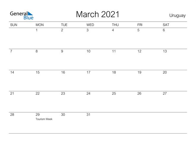 Printable March 2021 Calendar for Uruguay