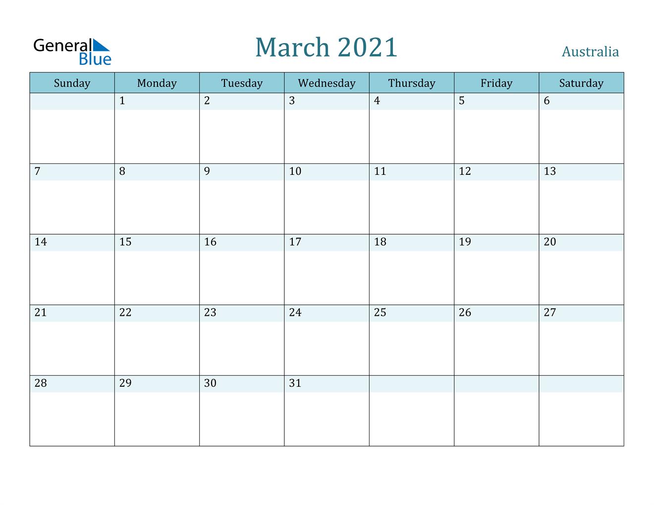 March 2021 Calendar - Australia