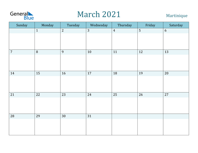 Image of March 2021 Colorful Turquoise Calendar in PDF, Word and Excel Calendar