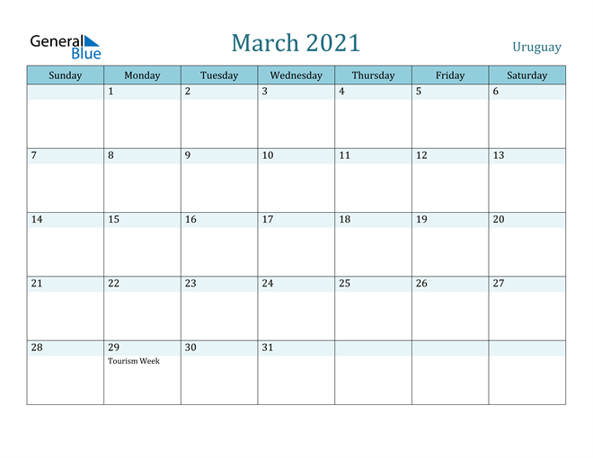 March 2021 Calendar with Holidays in PDF, Word, and Excel