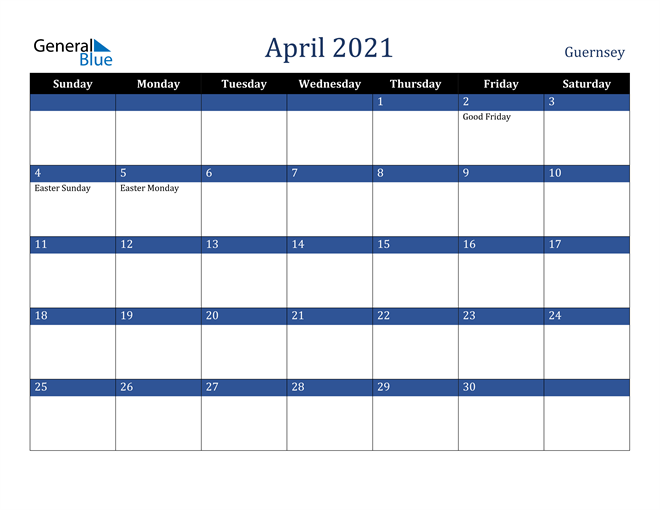Image of April 2021 Stylish Dark Blue Calendar in PDF, Word and Excel Calendar