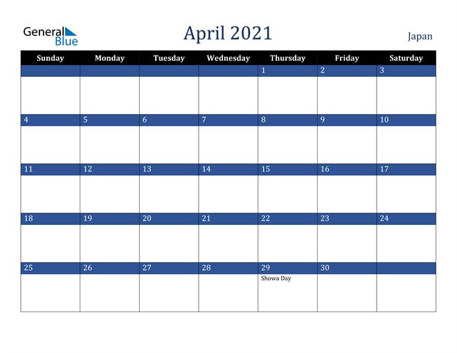 April 2021 Japan Calendar