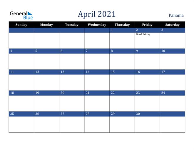 Image of April 2021 Stylish Dark Blue Calendar in PDF, Word and Excel Calendar
