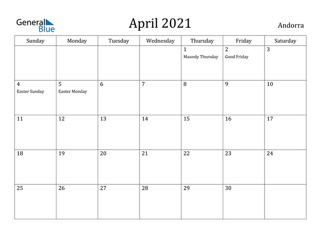 Image of April 2021 Andorra Calendar with Holidays Calendar