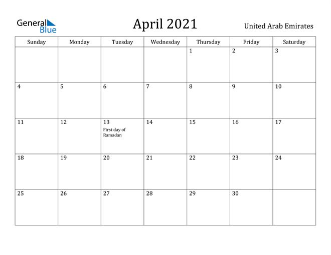 Image of April 2021 United Arab Emirates Calendar with Holidays Calendar