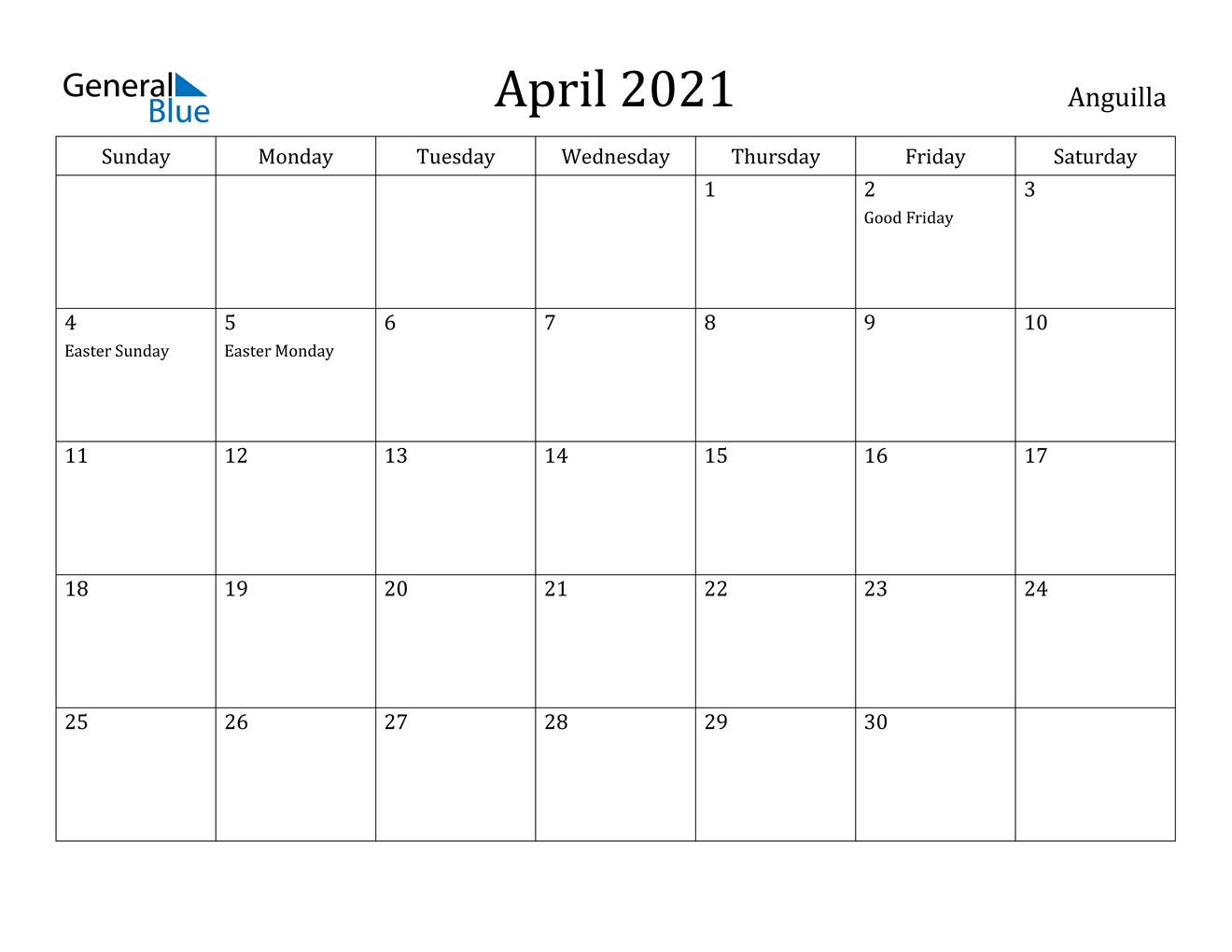 April 2021 Calendar - Anguilla
