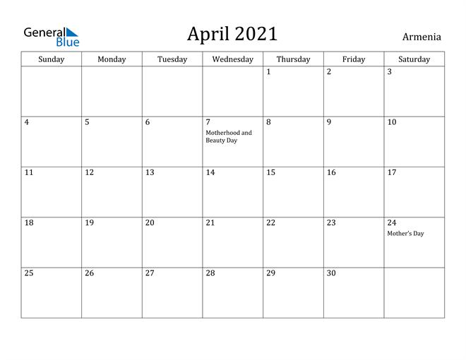 Image of April 2021 Armenia Calendar with Holidays Calendar