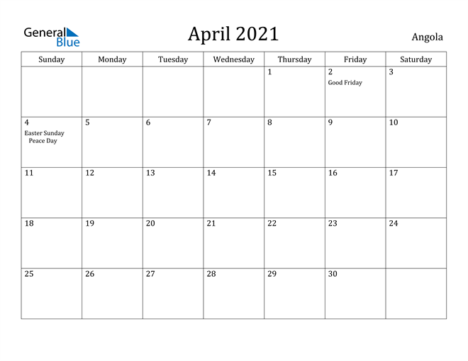 Image of April 2021 Angola Calendar with Holidays Calendar