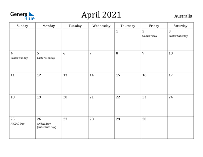 Image of April 2021 Australia Calendar with Holidays Calendar
